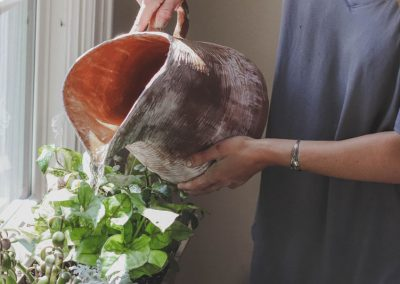 Gießen von Pflanzen auf Fensterbank